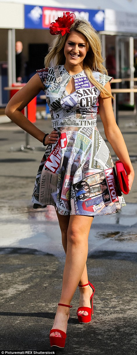 Hoping to be noticed: Ms Brown had certainly dressed to attract the attention of photographers in her newsprint dress and scarlet heels