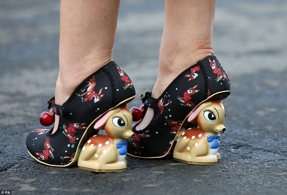 Quirky: One lady showed off a rather unique sense of style courtesy of pair of fun Bambi-inspired heels