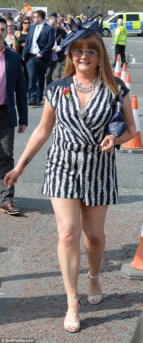 Stripes galore: One of summer's hottest trends is stripes - and the ladies of Aintree were happy to make the most of it