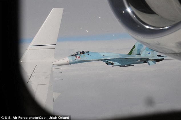 TheRussian SU-27 Flanker 'aggressively' cut into the American plane's path, the spokesman stated