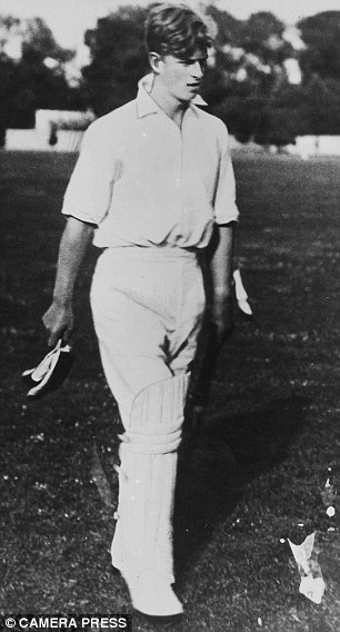 Prince Philip is seen going to bat for Gordonstoun while he was a pupil there in 1939