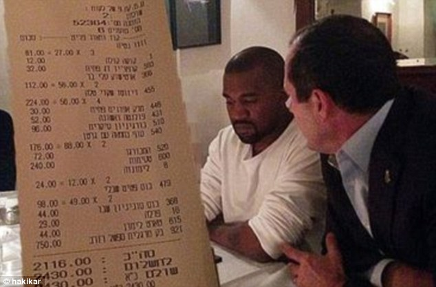 Cropped out: On Tuesday, Kim Kardashian was removed from this photo of her dining at a non-kosher venue with her husband, Kanye West, and Jerusalem's mayor, Nir Barkat, by the ultra-Orthodox news site, Hakikar