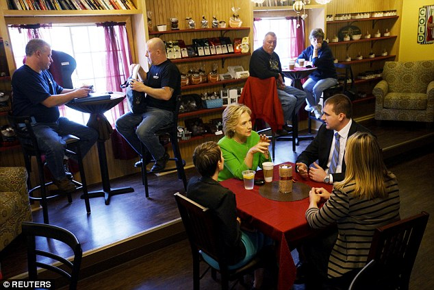 STAGED: Clinton sat to talk with three young Iowans at a coffee shop on Tuesday – all of whom were driven to the event by her Iowa campaign's political director