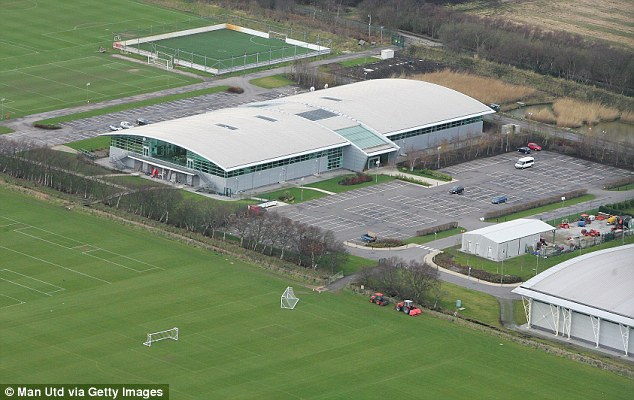 An aerial view of Manchester United's swish Carrington training base without its floodlights