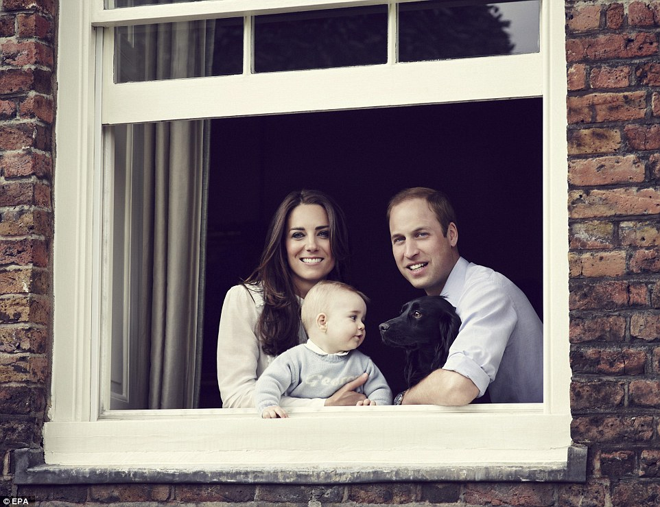 Growing family: Prince William was with 33-year-old Kate throughout and big brother George is expected to visit his new sibling tomorrow