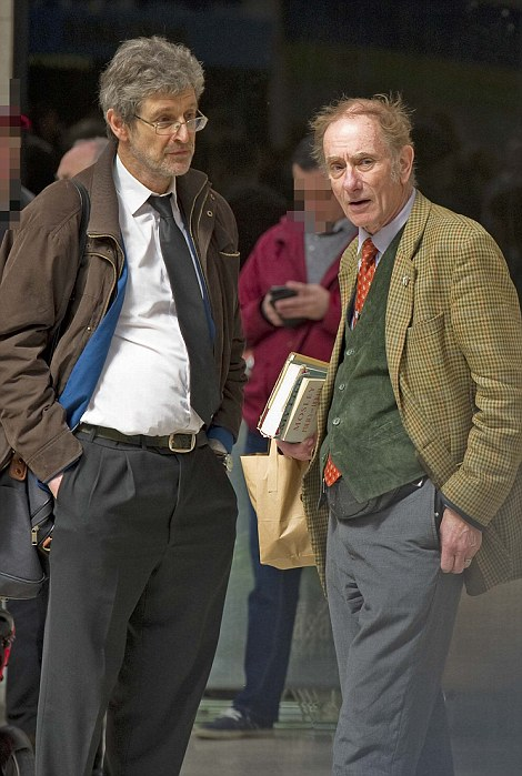 Ex-newspaper editor for the BNP John Morse (second from right) with retired teacher Michael Woodbridge (right)