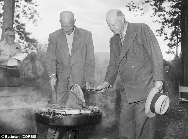 Trout Run in Maryland was used for fishing by President Hoover (right) and President Dwight Eisenhower (left) during their times in office (file photo, Colorado, 1954)