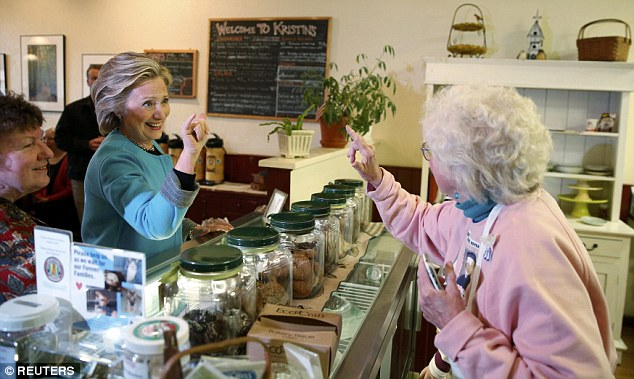 Hillary Clinton met a few employees at Kristin's Bakery in Keene, New Hampshire on Monday as her presidential campaign in the Granite State got underway, but some in the kitchen refused to be seen with her