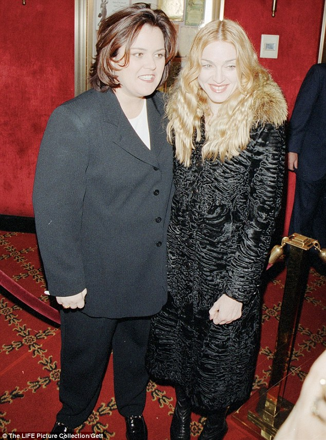 Madge posed with her friend Rosie O'Donnell, who is openly lesbian; seen above in 2001
