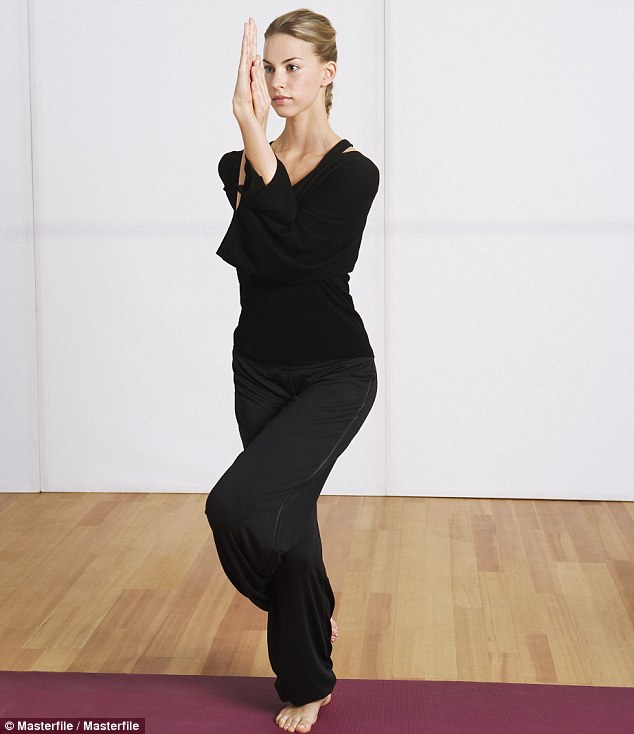 Feeling chirpy: Eagle pose will have you soaring to reach the big O, thanks to the xxxx