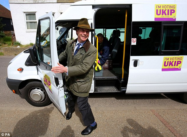 Mr Field is a former regional organiser of the EDL and was waiting for Ukip leader Nigel Farage, pictured