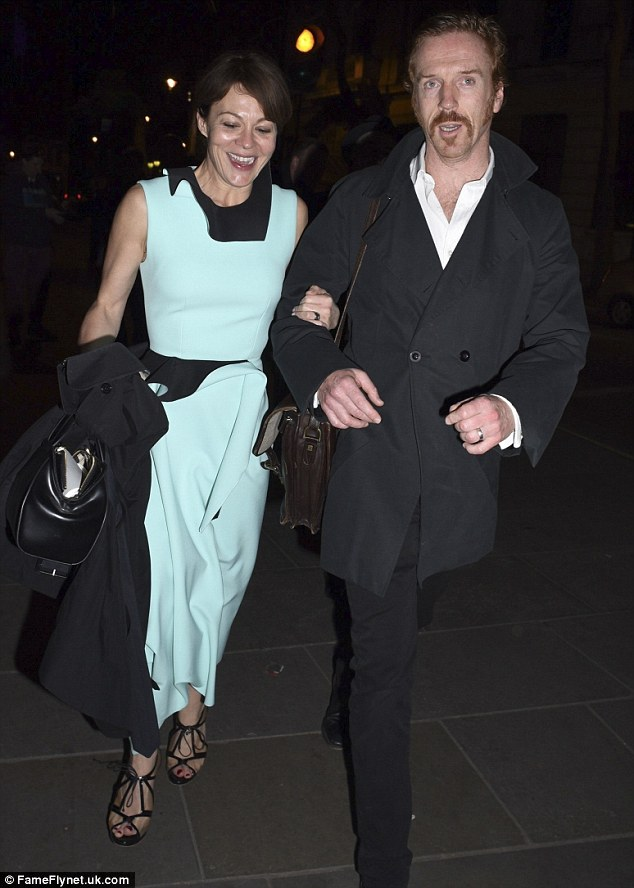 Celebration: Damian Lewis was accompanied by his wife, Helen McCrory, to celebrate the opening night of his West End play, American Bufflalo, at London's National Cafe on Monday