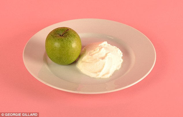 A whole  pot of fat-free yoghurt (125g) and one apple will keep you full until lunch