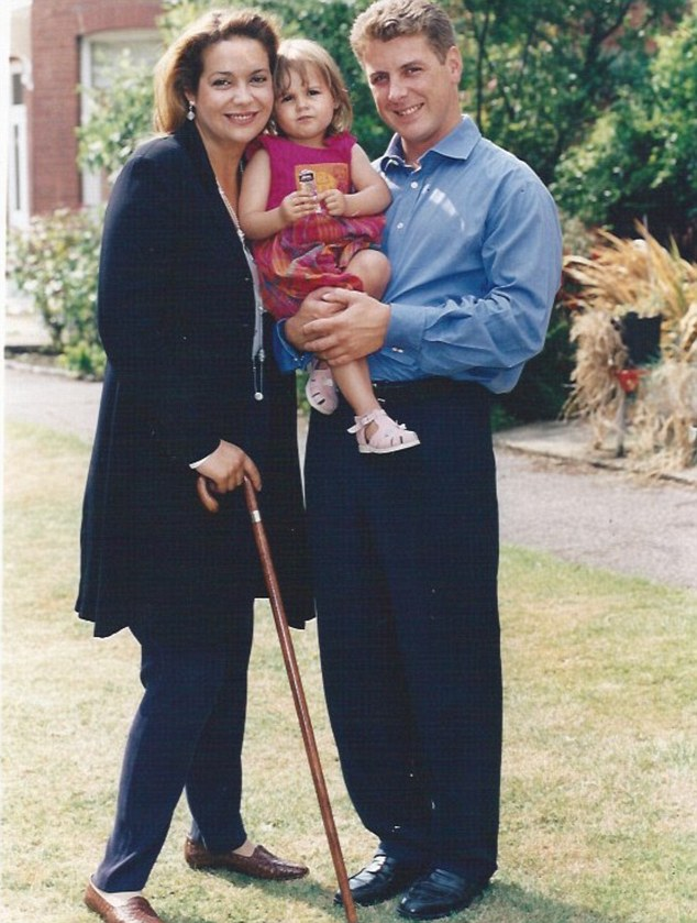 Diana is seen here with her ex-husband David and daughter Lara, in 1995, the day after winning her five-year legal battle with British Rail. A judge decided the rail company was 70 per cent to blame for the accident