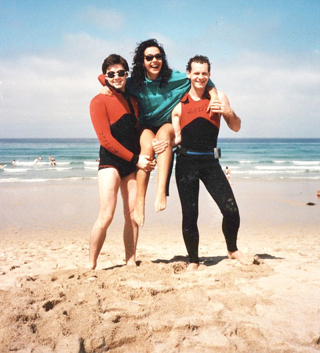 Diana, pictured here on the beach with friends before her accident, was enjoying life as a business woman with her own PR company and busy social life before her accident in August 1990