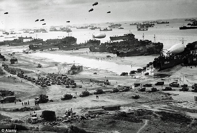 Only nine per cent of Germans now consider the end of the conflict a defeat. Pictured:Operation Overlord  in June 1944