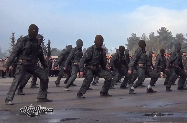 Elite: Its special forces units (pictured) showed off  an array of acrobatic kicks and close-combat skills in front of their leaders