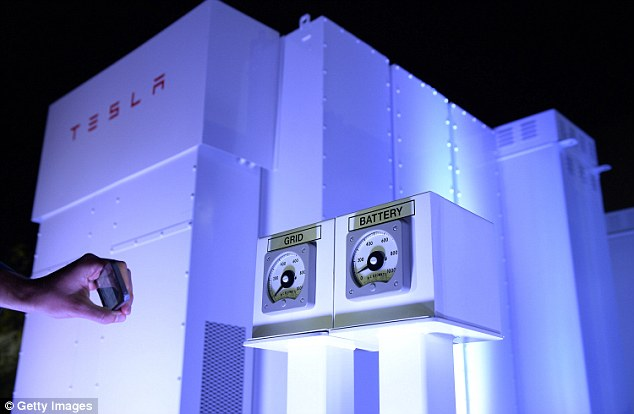 Pictured is a utility-scale version of Powerwall that can be used by businesses and scaled up for more power