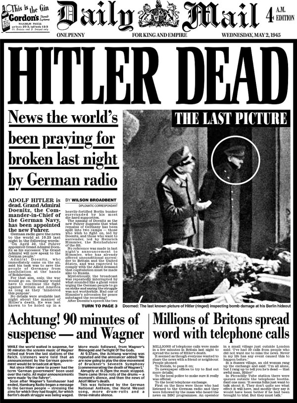 History unfolds on Daily Mail pages from the day Adolf ...