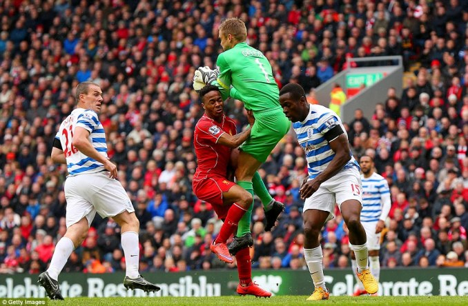 Sterling clashes with QPR goalkeeper Green, who kept Liverpool at bay for large periods of the game