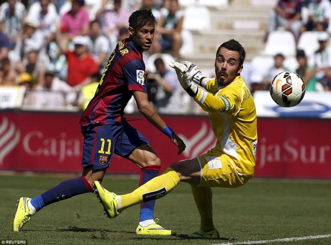 Neymar sees a chipped effort go just wide during Barcelona's 8-0 victory over Cordobaat the Nuevo Arcangel Stadium on Saturday