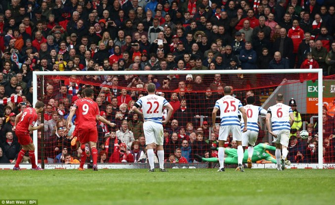 Gerrard had a penalty palmed away by QPR goalkeeper Robert Green in the 80th minute at Anfield
