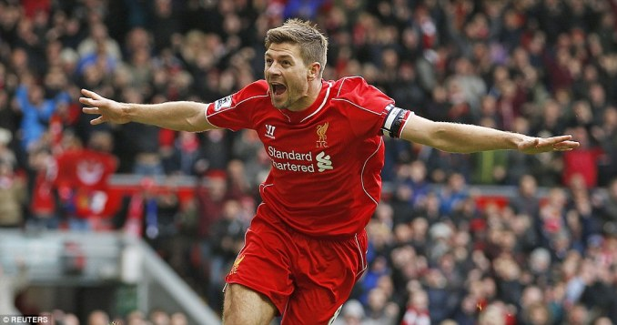 But seven minutes after missing the spot kick, Gerrard was celebrating another winning goal for Liverpool at Anfield