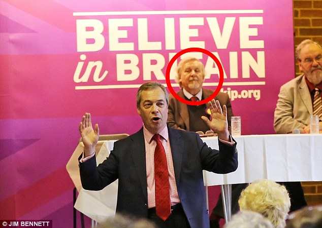 Now: Mr Heale (circled), behind Mr Farage at a Ukip event,claims the National Front (NF) was just 'a bit of a social club' when he ran the local group in 1978