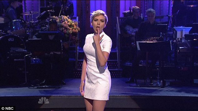 Saucy: In a sixties-inspired thigh-skimming shift dress, Scarlett Johansson gave viewers of SNL something to set their pulses racing - a very sexy dance