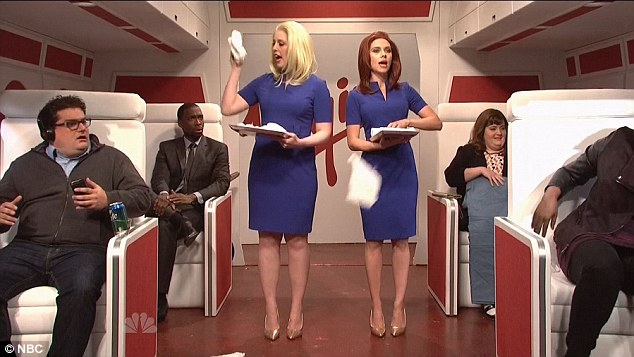 Welcome to Virgin airlines: Scarlett also portrayed an air stewardess in one of the skits
