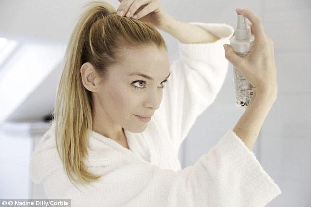 Image result for girl spraying on hair