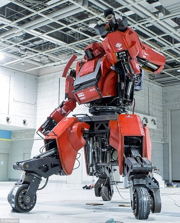 Fans of Ironman can buy themselves a red exoskeleton (pictured) - providing they have a spare $1 million (£659,000) - because a Japanese electronics firm is selling a 13ft (four metre) mechanical suit on Amazon that can be controlled by an iPhone, or by stepping foot in the device