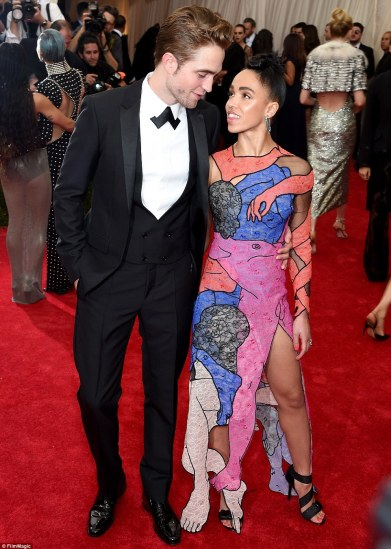 A very sexy red carpet debut: Robert Pattinson was joined by FKA Twigs, who wore a raunchy dress featuring a genitalia design