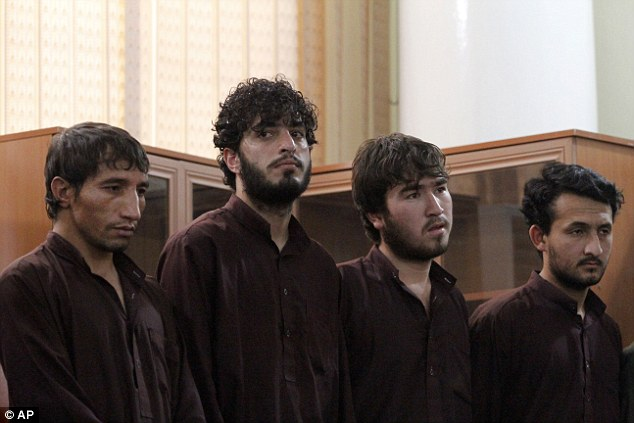 Convicted: These four men were sentenced to death for their role in killing Farkhunda in a frenzied mob attack in the capital Kabul earlier this year