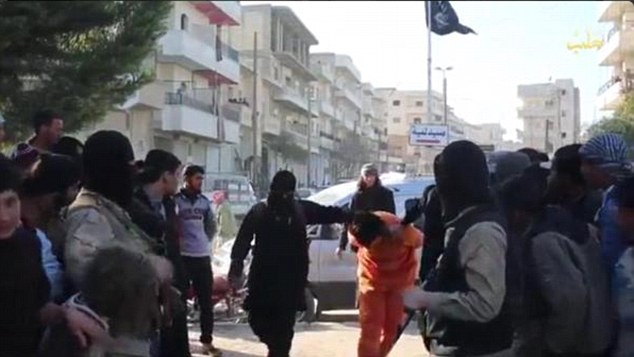 Condemned to die: The men were paraded through the Syrian city of Aleppo with their hands tied behind their backs before being thrown to the ground and shot dead by ruthless militants