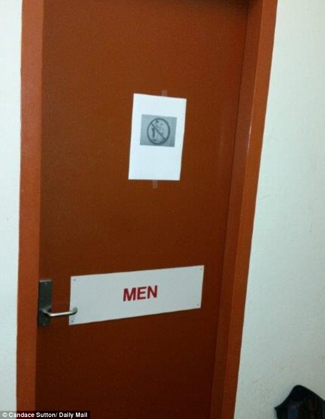 The sign is stuck to the door of the Level One men's toilet in the CBD ofice block which is used my Muslim workers to wash their feet in the required ablution before their five daily prayers to Allah, a practice which apparently offended the man who put up the cartoon