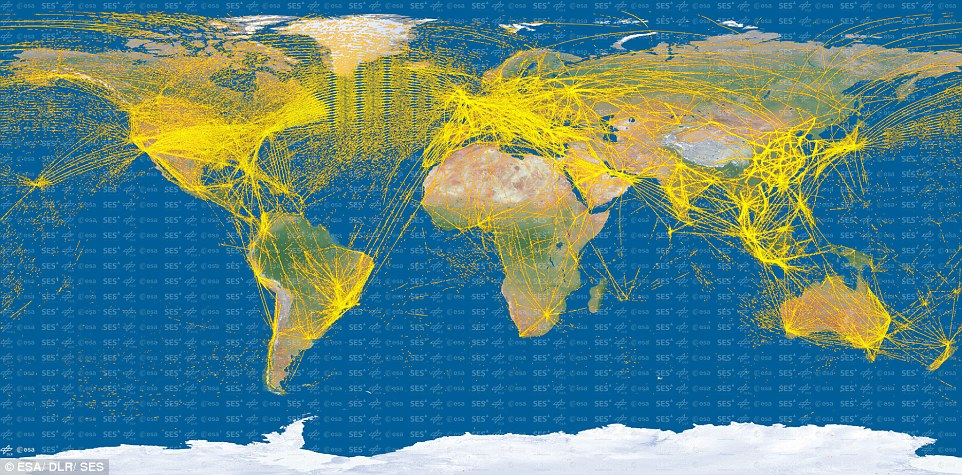 The Proba-V satellite has picked up signals from thousands of aircraft. Now, Esa has used these signals to create an incredible flight map showing 15,000 separate aircraft based on 25 million positions