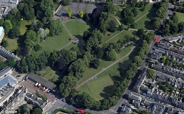 The alleged victim had left a wedding party after drinking 'formidable' amounts of alcohol and is seen on CCTV footage being led to Christ's Pieces park (above) in Cambridge by the defendants
