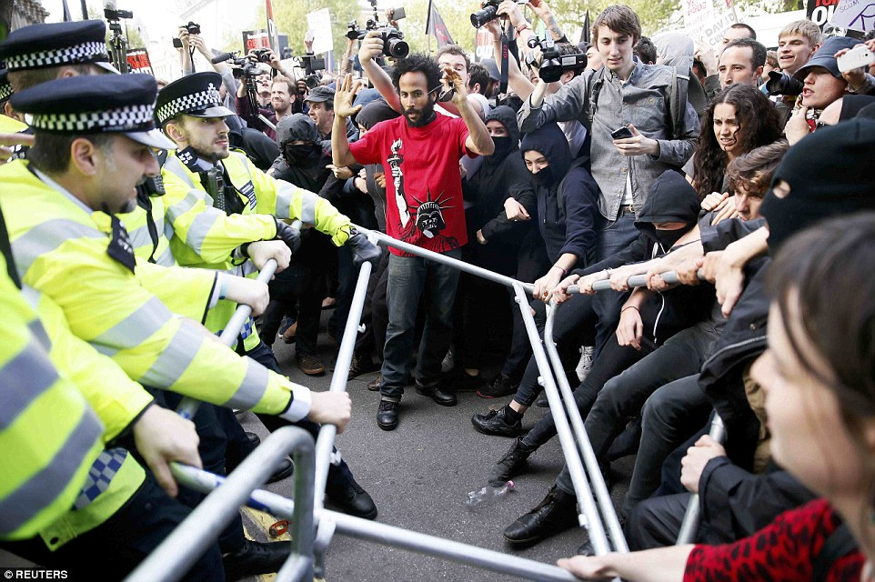 The demonstrators tried to force their way through barriers amid the angry scenes outside Downing Street and across Whitehall