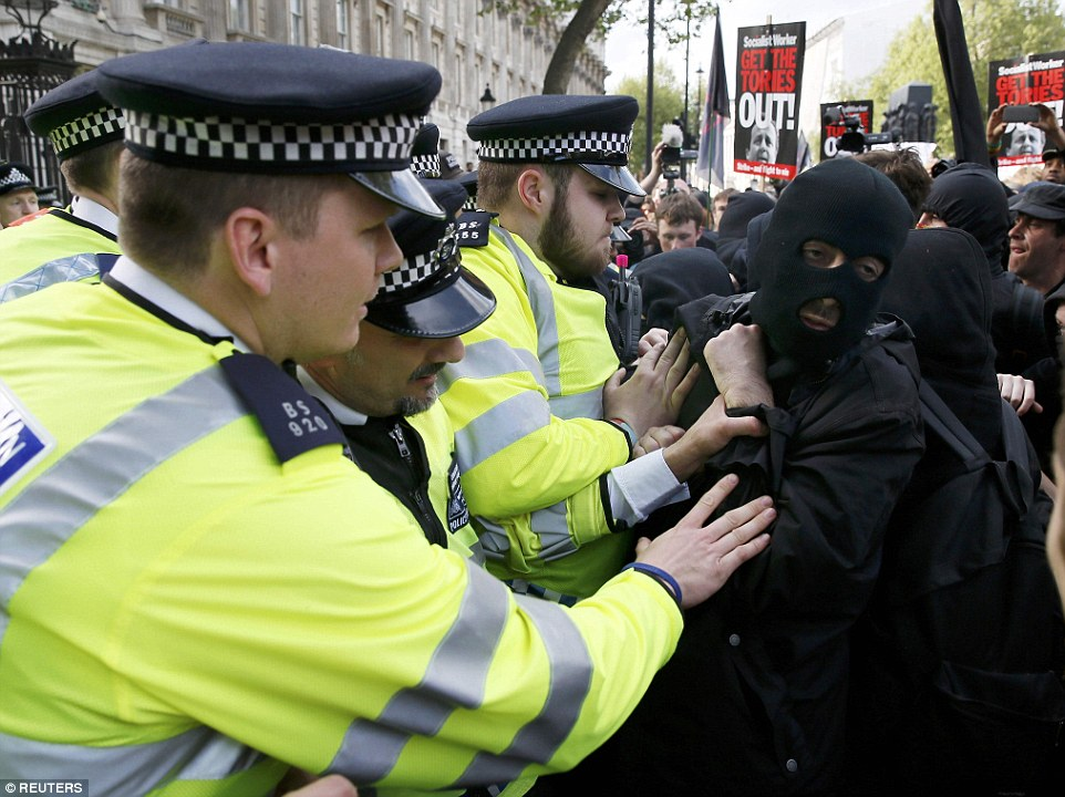 Some of the more sinister elements of the crowd were wearing full balaclavas and dressed in black to avoid being identified at a later stage