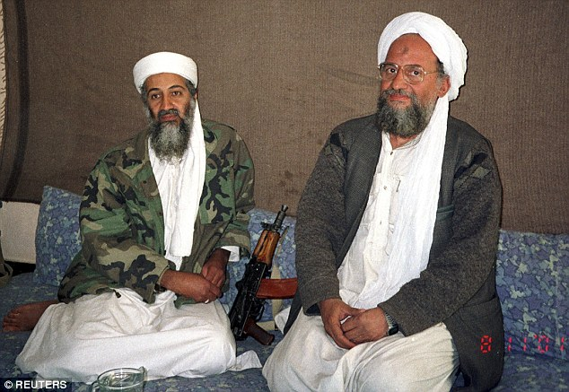 Militant organisation: During his piece, Hersh claimed the threat of Al Qaeda, headed by Bin Laden (left), was hyped up in the weeks before the attack