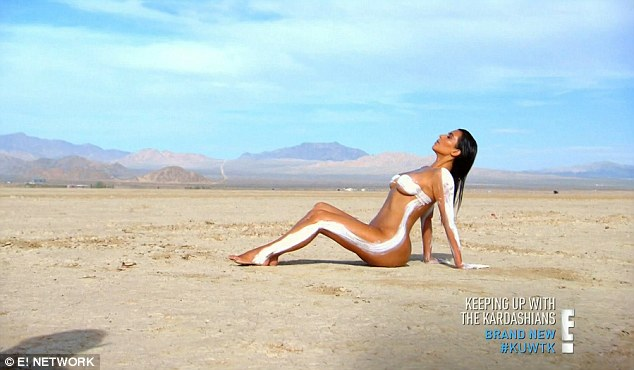 Feeling free: The middle of the desert was the perfect setting for Kim to bare all