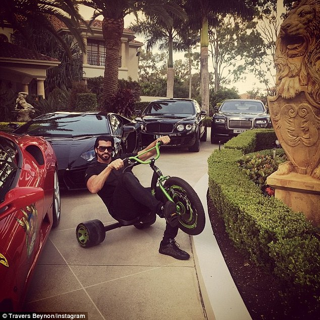 He also shares pictures of his envious car collection - complete with 'Candyman' branded Ferrari's and Lamborghini's