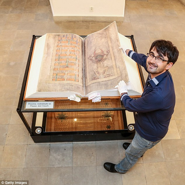 A replica of the book is pictured here.  The book begins with the Old Testament, and it is followed by two works by Flavius Josephus who lived in the first century AD
