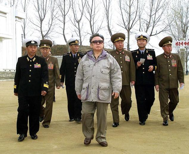 Former North Korean leader Kim Jong Il (C), accompanied by senior military personnel, including Korean People's Army (KPA) General Kim Kyok-Sik (3rd R), insp...