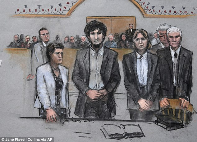 Meeting his fate: This court sketch shows Tsarnaev, emotionless, listening to a Boston jury sentencing him to death Friday