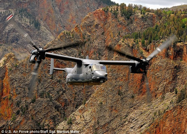 Air raid: Defense sources say that troops were dropped into combat during the mission, which used Osprey tilt-rotor aircraft such as the one above