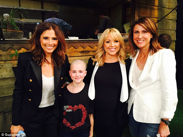 Channel Seven's Sally Obermeder, Monique Wright and Natalie Barr asked for a photo with Sophia after her incredible gesture for charity