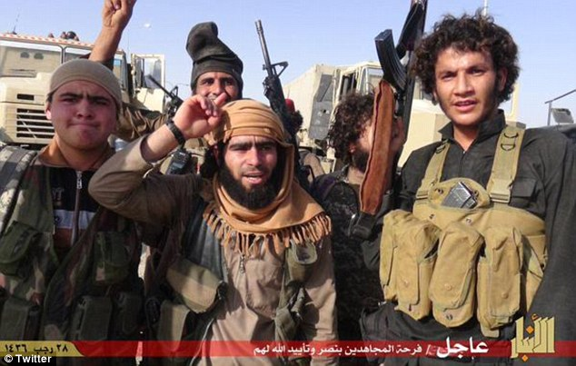 Jubilant jihadis: On a militant website frequented by ISIS members, a message from the group claimed its fighters held the 8th Brigade army base as well as tanks and missile launchers left behind by fleeing soldiers