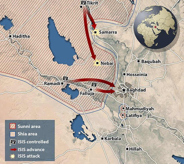 Surrounded: ISIS already has control of Fallujah which is on Baghdad's doorstep and has now conquered the strategically important city of Ramadi further west. It has Sunni support to the south of the Iraqi capital and is waging battles with security forces in the north to effectively 'surround' Baghdad